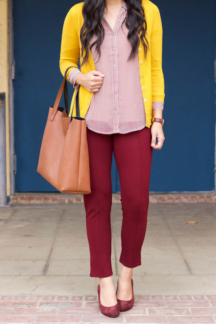 Blouse + Yellow Cardigan + Maroon Pants + Maroon Pumps