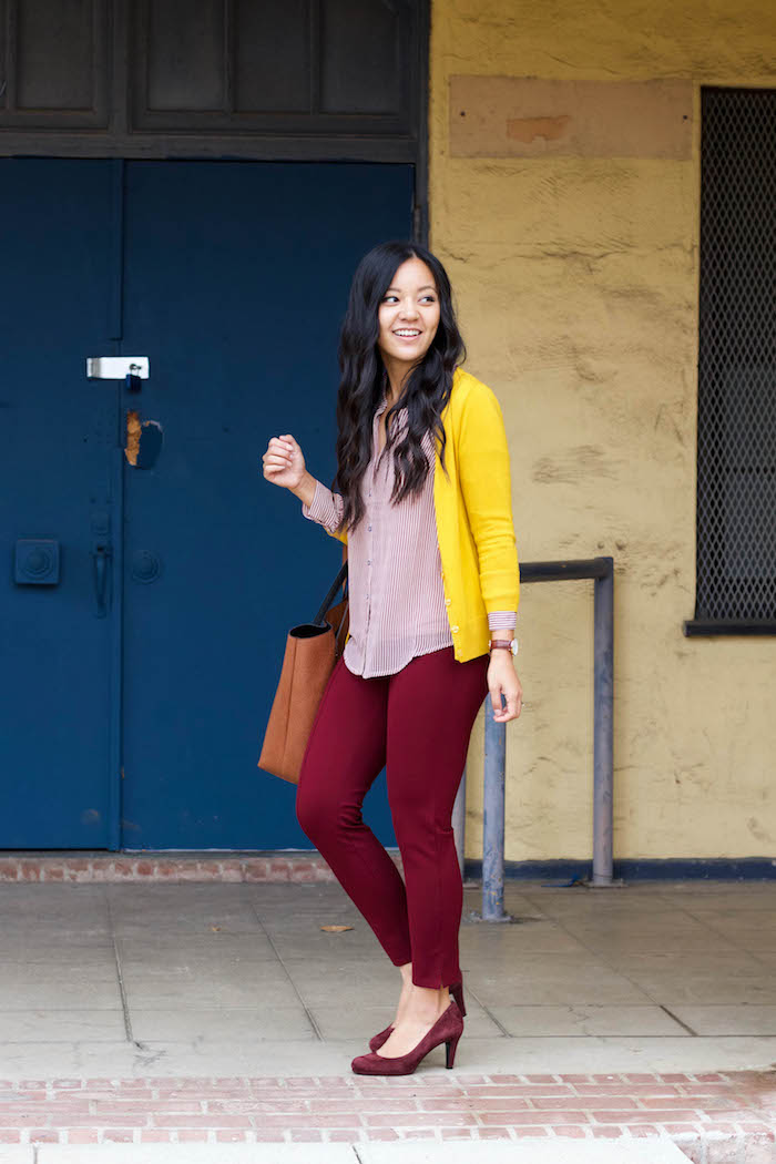 Maroon Pumps + Maroon Pants + Yellow Cardigan + Blouse