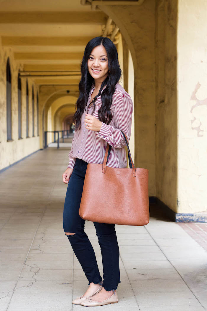 Frayed Skinnies + Striped Blouse + Tote + Nude Flats