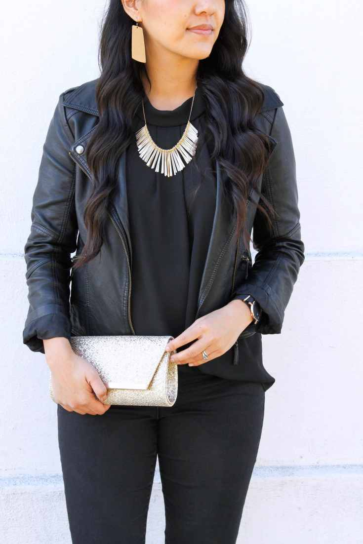 Black Faux Leather Jacket + Blouse + Gold Statement Jewelry + Gold Clutch