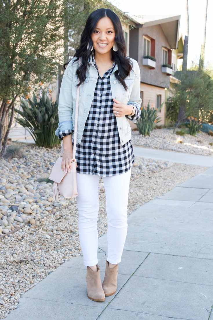 Blush Bag + White Jeans + Taupe Booties + Gingham Shirt + Jacket