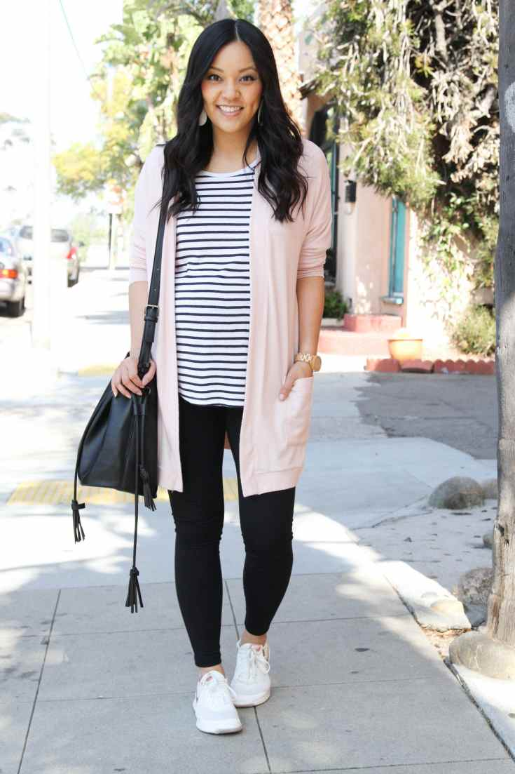 Blush Cardigan + Black Leggings + Striped Tee + Black Bucket Bag