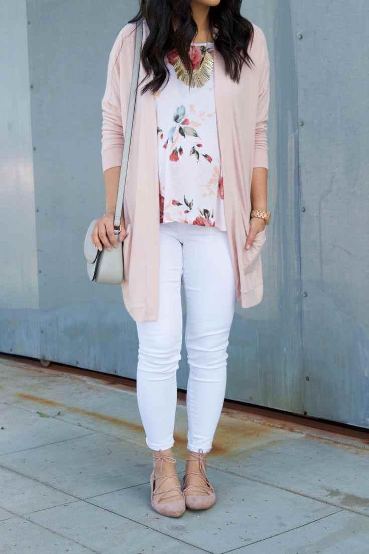 blush cardigan + blush ballet flats + white floral top + white jeans + grey purse