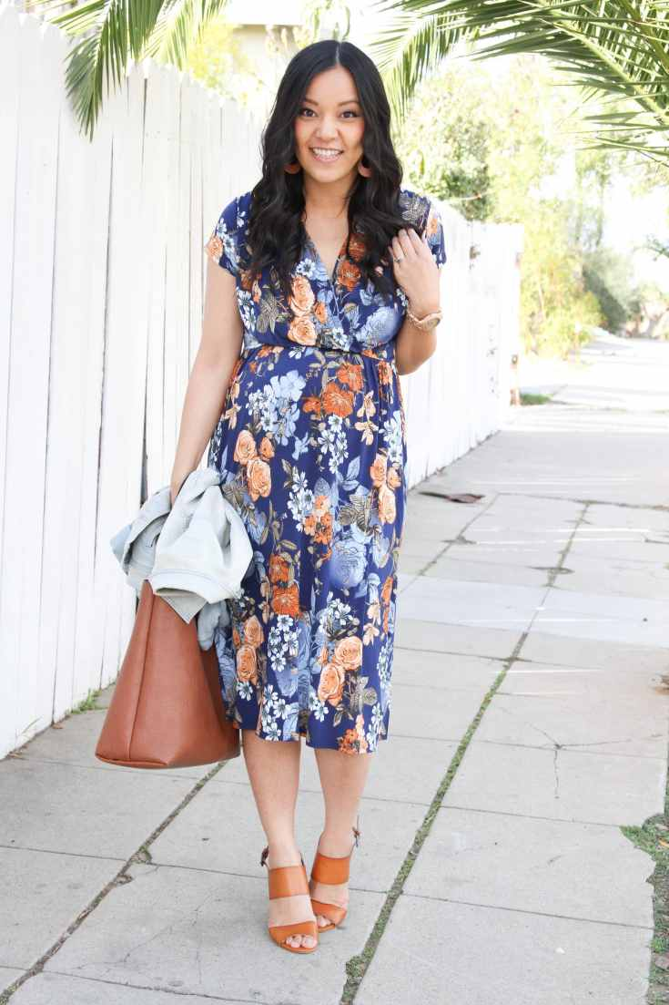 Navy Floral Midi Dress + Cognac Tote + Cognac Sandals