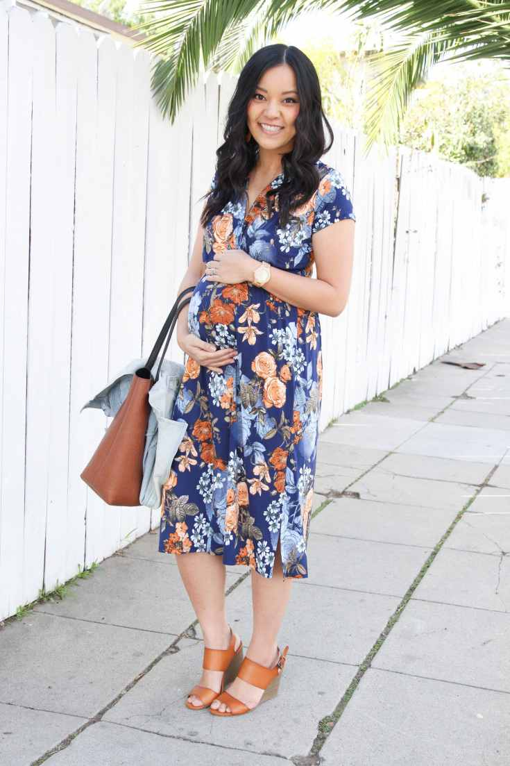 Cognac Tote + Navy midi dress + wedges + jord watch + jean jacket