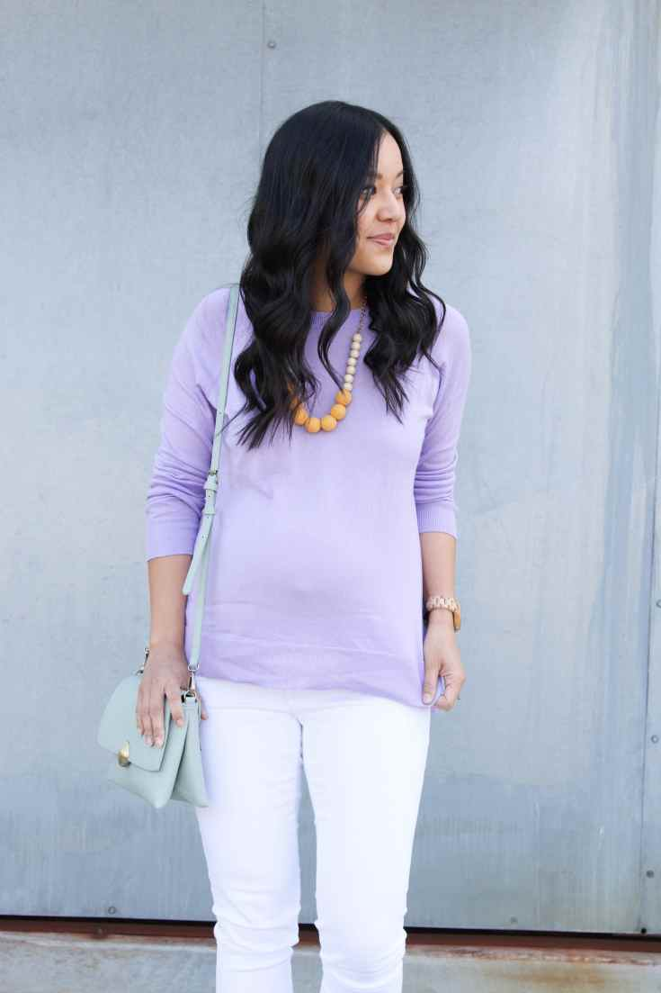Lavender Sweater + Statement Necklace + White Jeans + Mint Bag