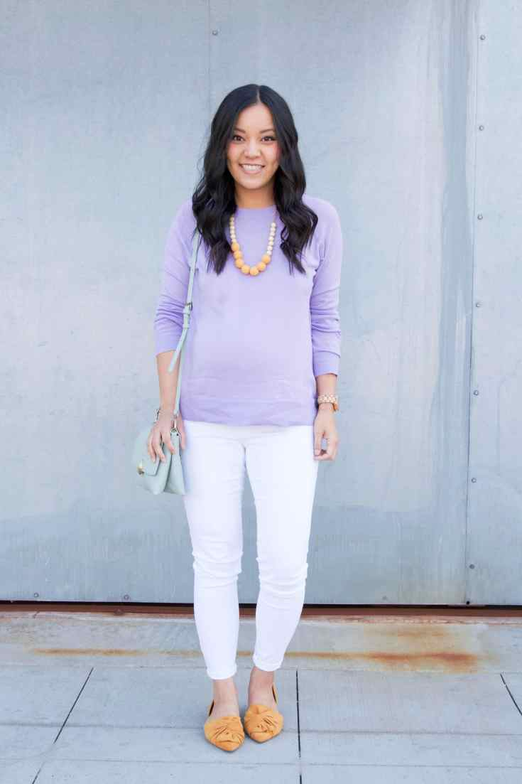 Lavender Sweater + White Skinnies + Yellow Flats + Mint Purse + Statement Necklace