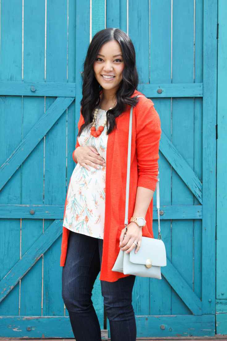 White Blouse + Orange Cardigan + Mint Bag + Statement Necklace + jeans