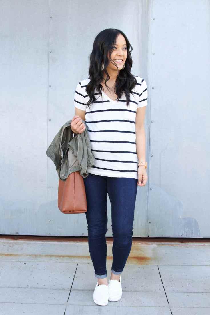 Striped T-shirt + Denim Skinnes + White Slip ons