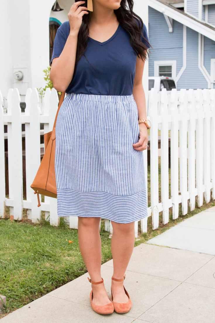 Blue Striped Skirt + Navy Tee + Rust Flats + Cognac Bucket Bag