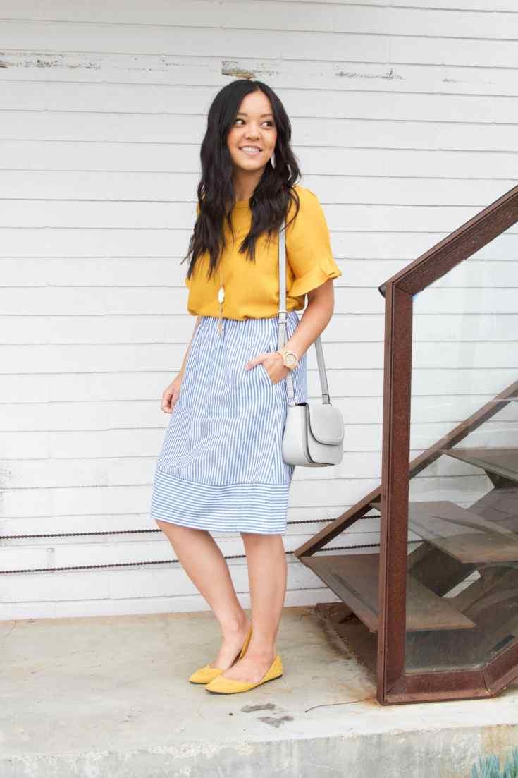 Mustard Flats + Striped Skirt + Yellow Blouse + Gray Bag