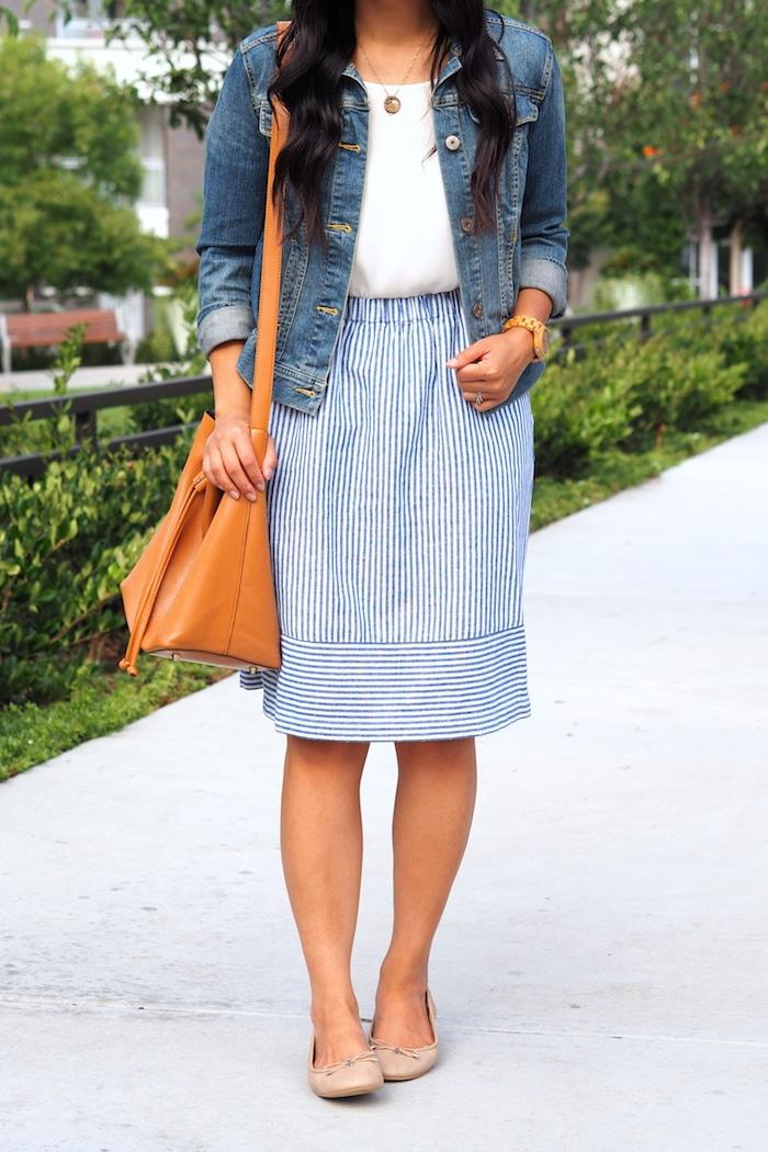 blue striped skirt + denim jacket + white top + nude flats