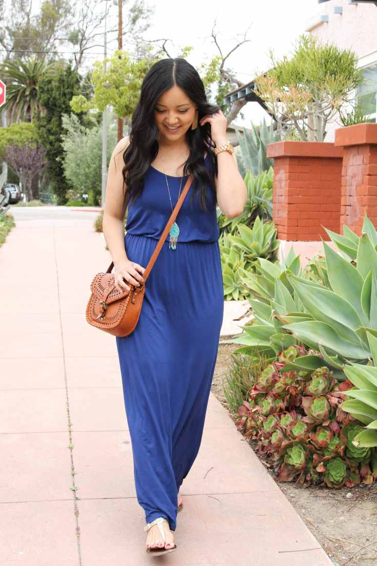 Blue Maxi Dress + Turquoise Necklace + Cognac Bag + Sandals