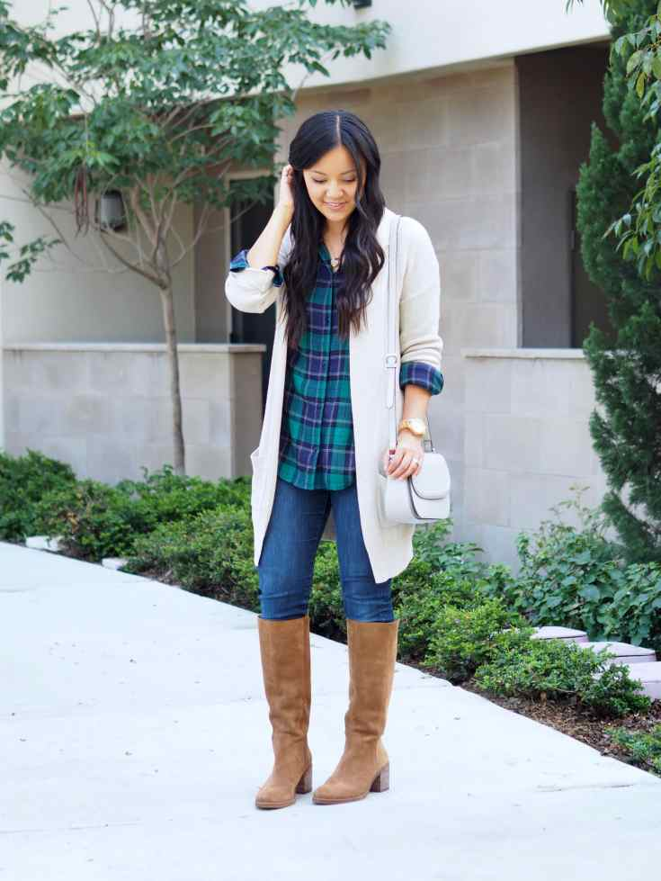 Green Navy Plaid Top + Beige Cardigan + Tan Suede Boots