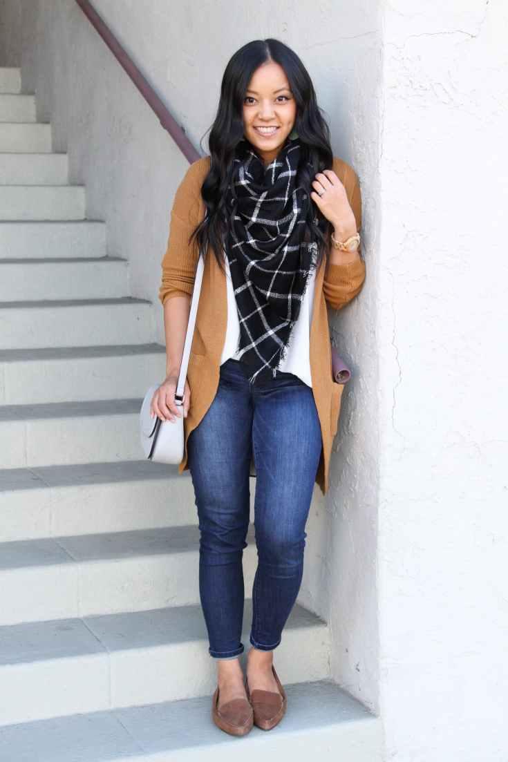 Brown Cardigan + Blanket Scarf + Skinnies + Loafers