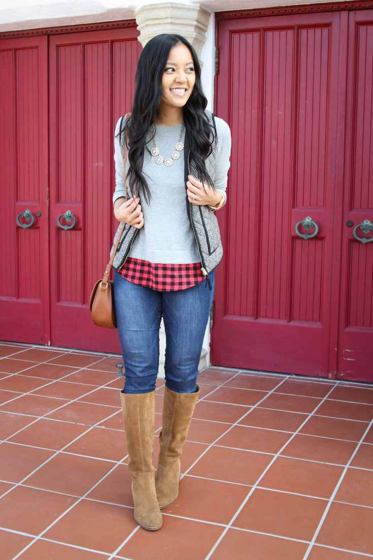Suede Boots + Layered Sweater + Herringbone Vest + Skinnies + Shoulder bag