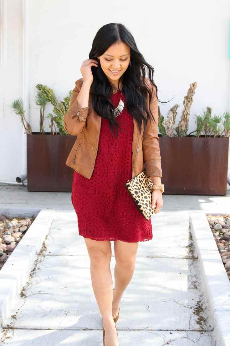 Cognac Jacket + Red Lace Dress + Leopard Bag + Statement Necklace