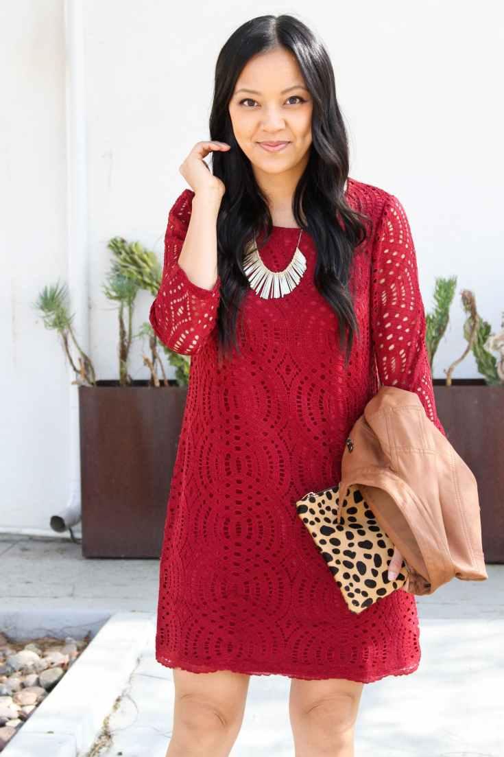 Lace swing dress + statement necklace + Leopard clutch