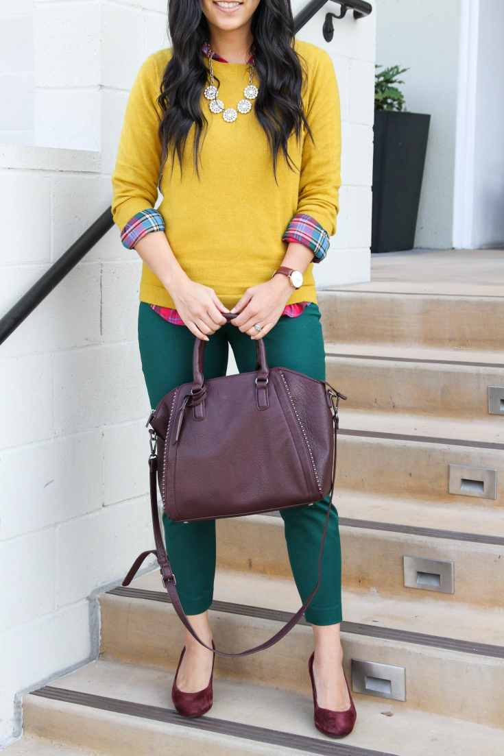 Maroon Pumps + Green ankle pants + maroon bag + Yellow sweater + plaid top