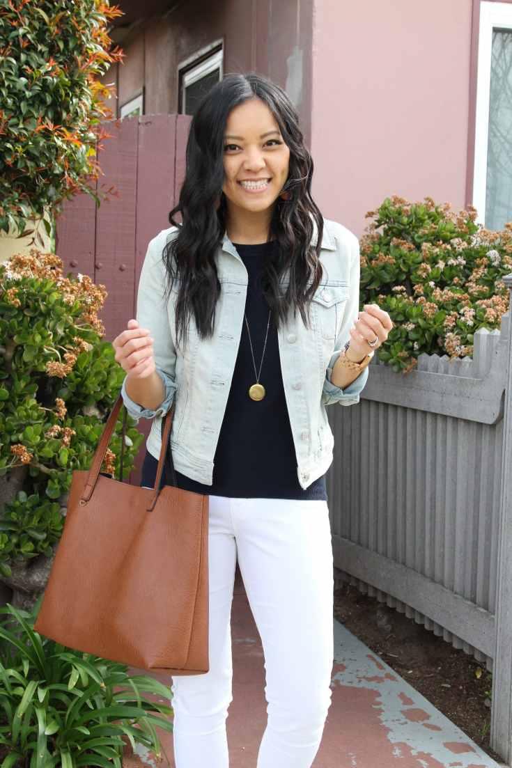 Tote + Navy Sweater + Denim Jacket + White Pants