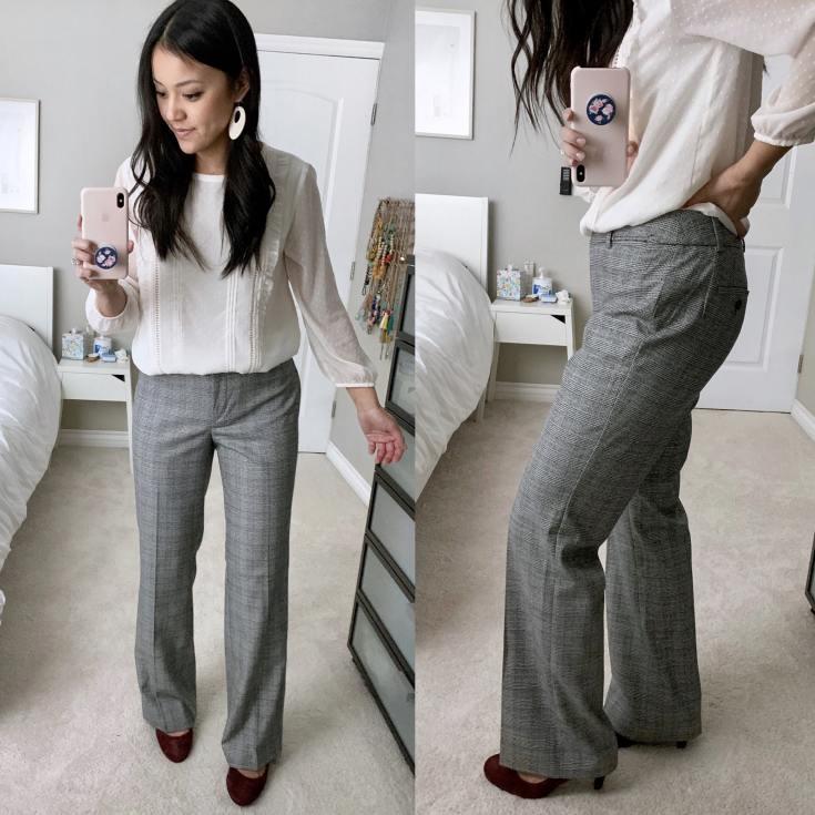 Grey bootcut pants + maroon heels + white top