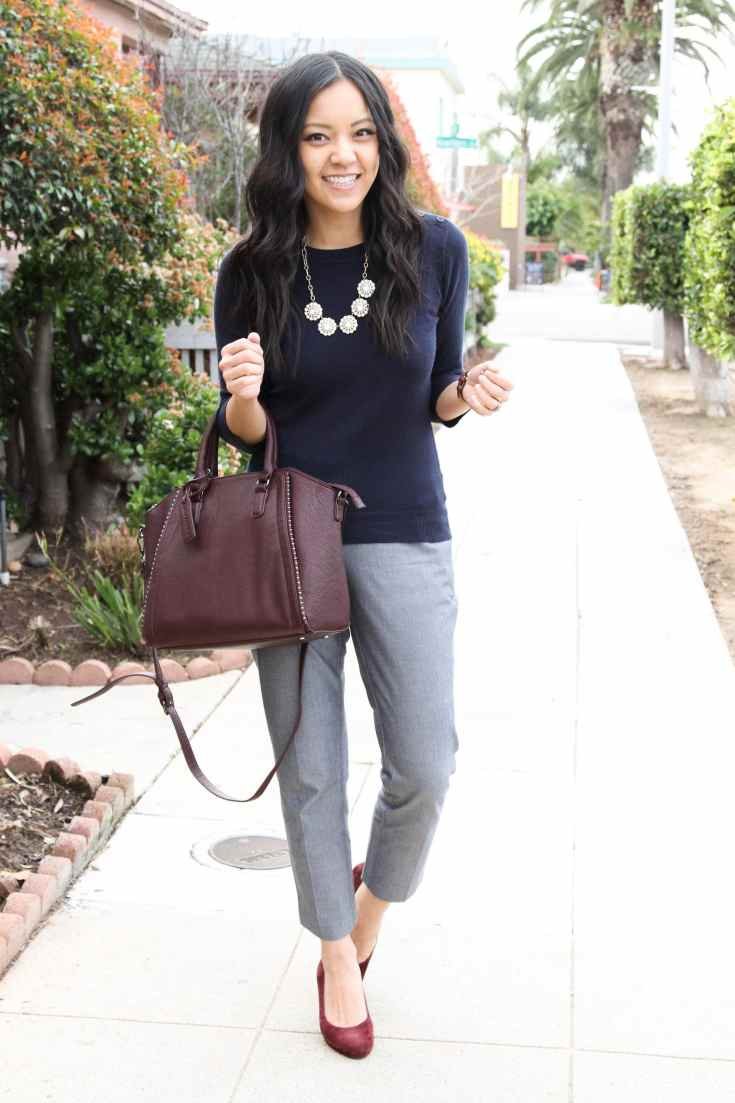 Maroon pumps + Maroon bag + navy sweater + grey pants
