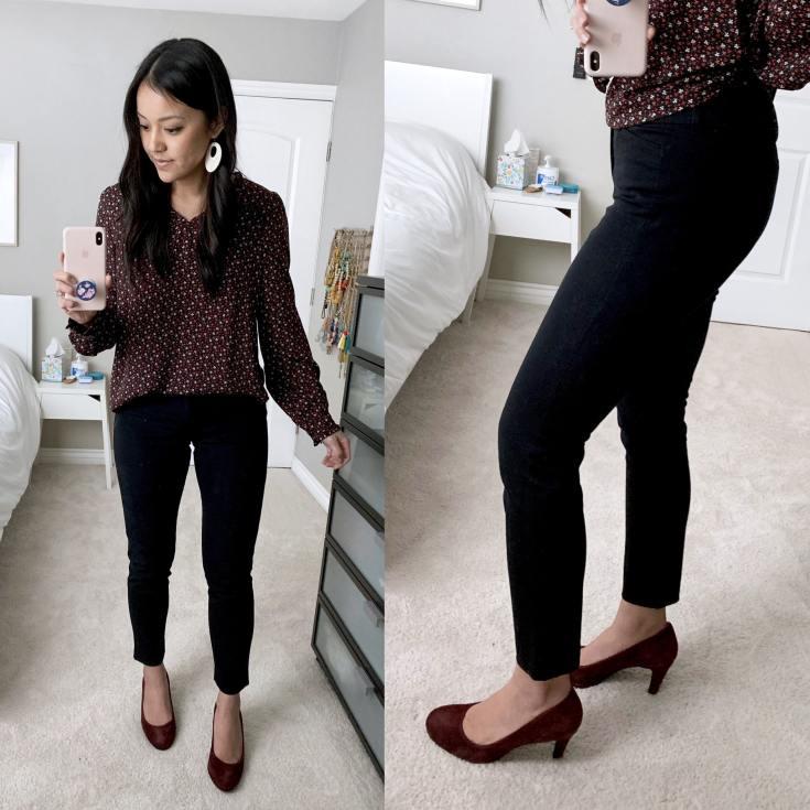 Black Pants + Maroon Floral Blouse + Maroon Heels