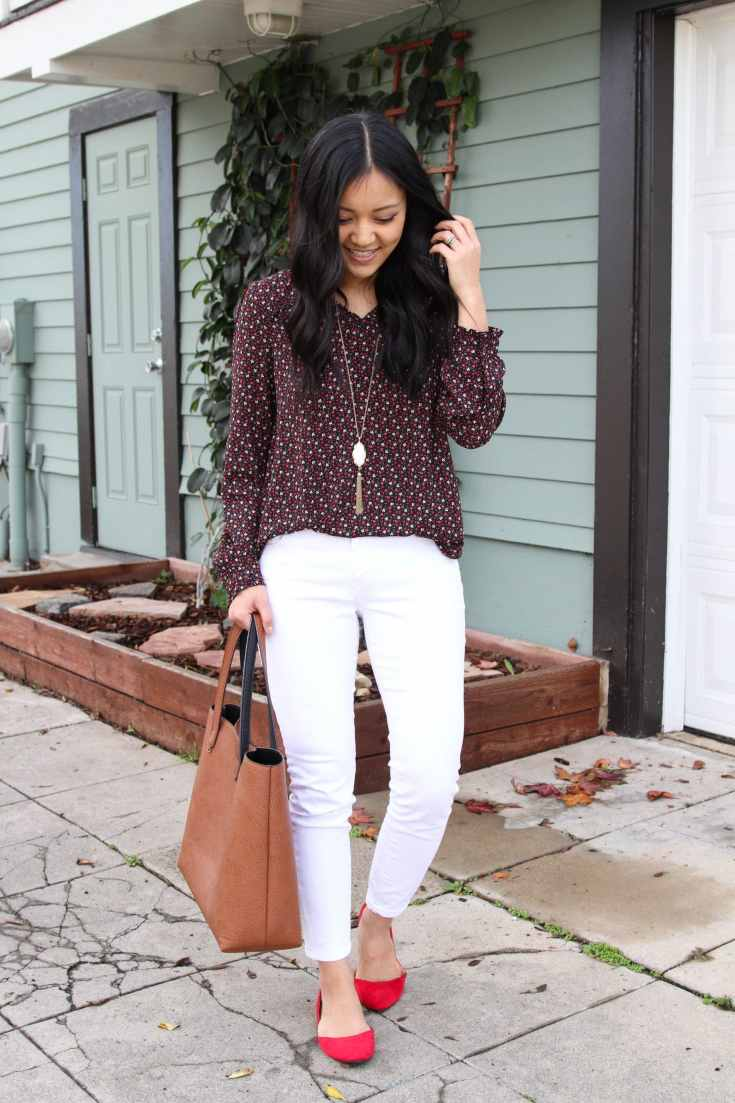 red flats + brown tote + white jeans + maroon printed shirt