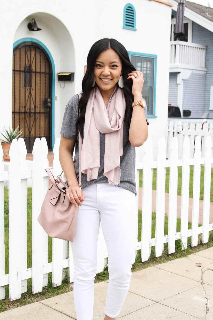 White Jeans + Grey Tee + Blush Scarf + Pink Bag