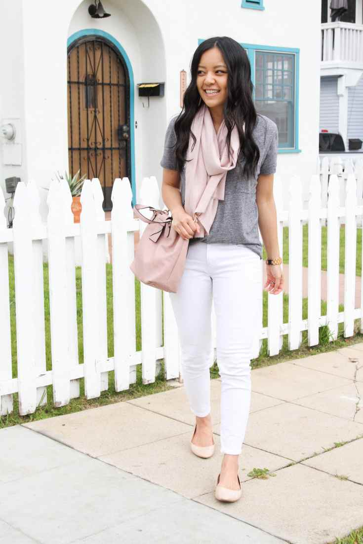 Blush Flats + White Jeans + Pink Bags + Grey Top + Blush Scarf