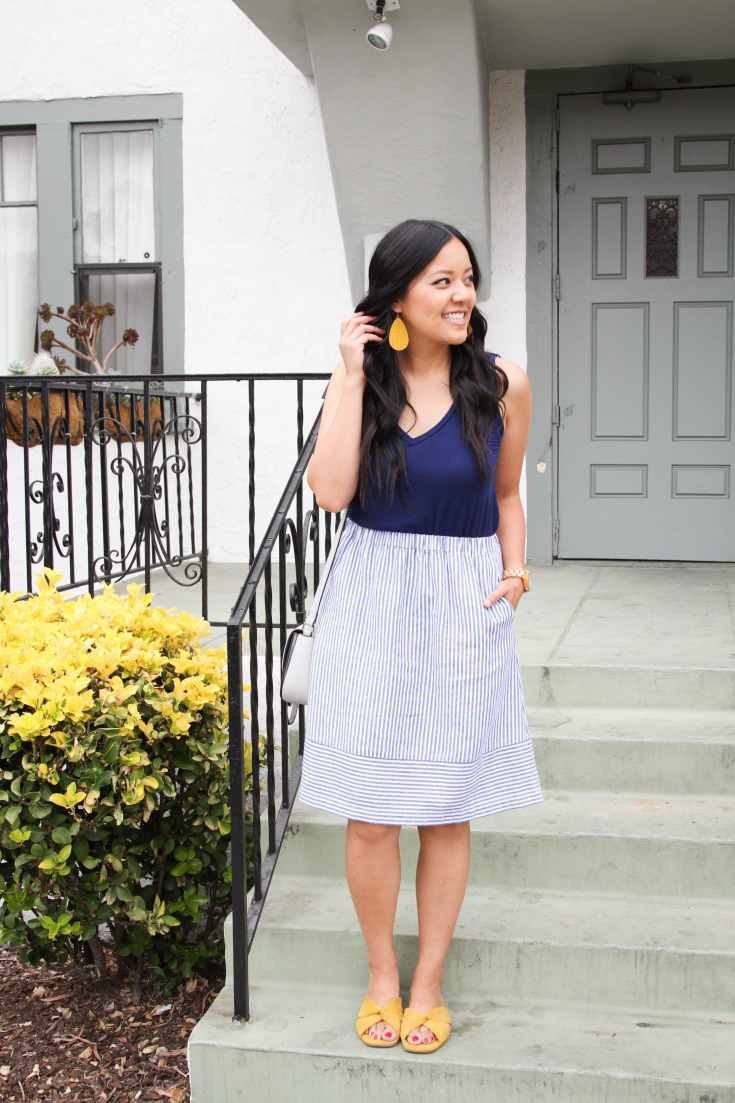 Striped Skirt + Blue top + yellow sandals + Yellow earrings