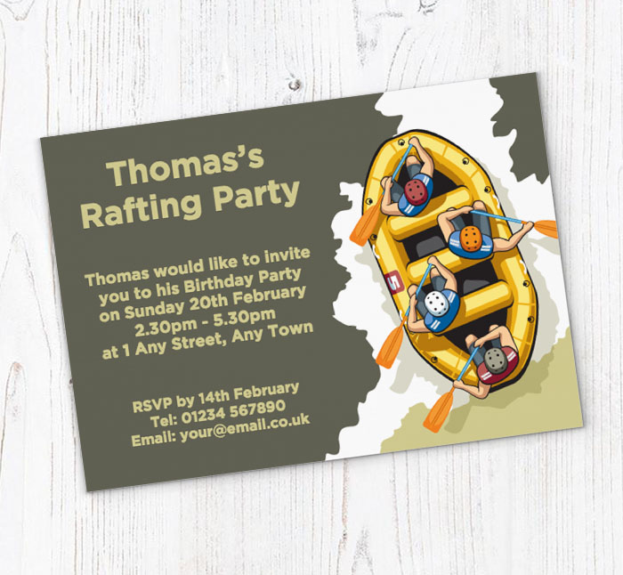 Water Rafting Party Invitations Customise Online Plus