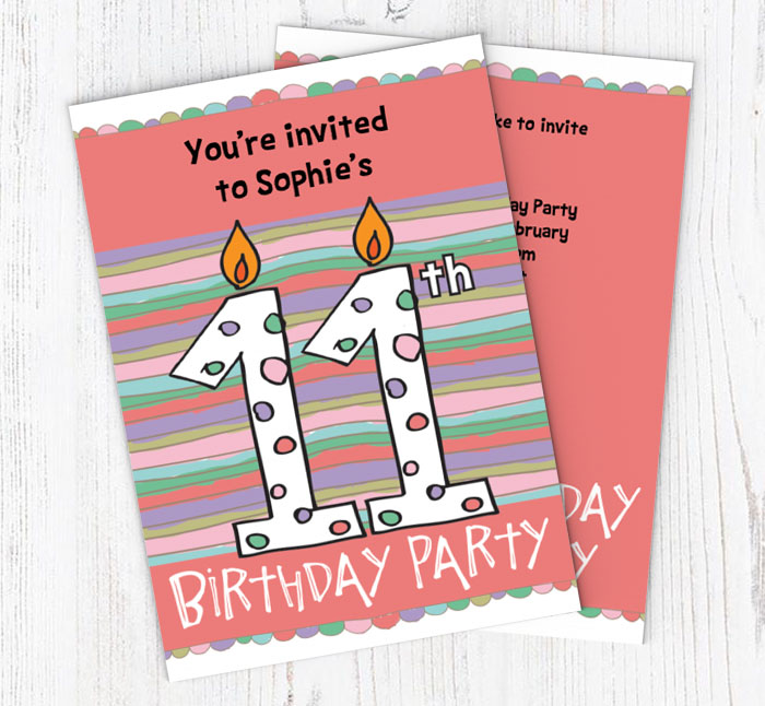 11th birthday candle party invitations