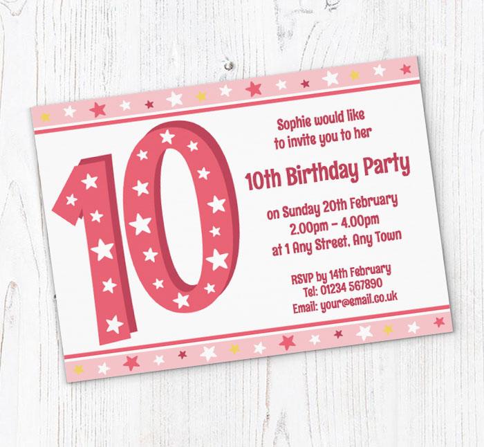 10th stars birthday party invitations