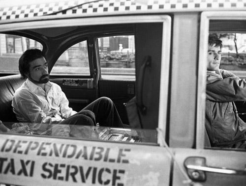 Martin Scorsese e Robert De Niro no set de Taxi Driver