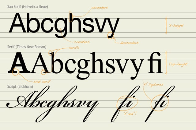 A quick overview of the anatomy of type