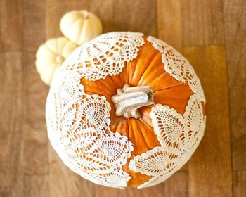 Pumpkin Decorating with Lace