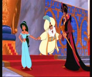Princess Jasmine with his father, the Sultan, and Jafar, in the throne room puzzle