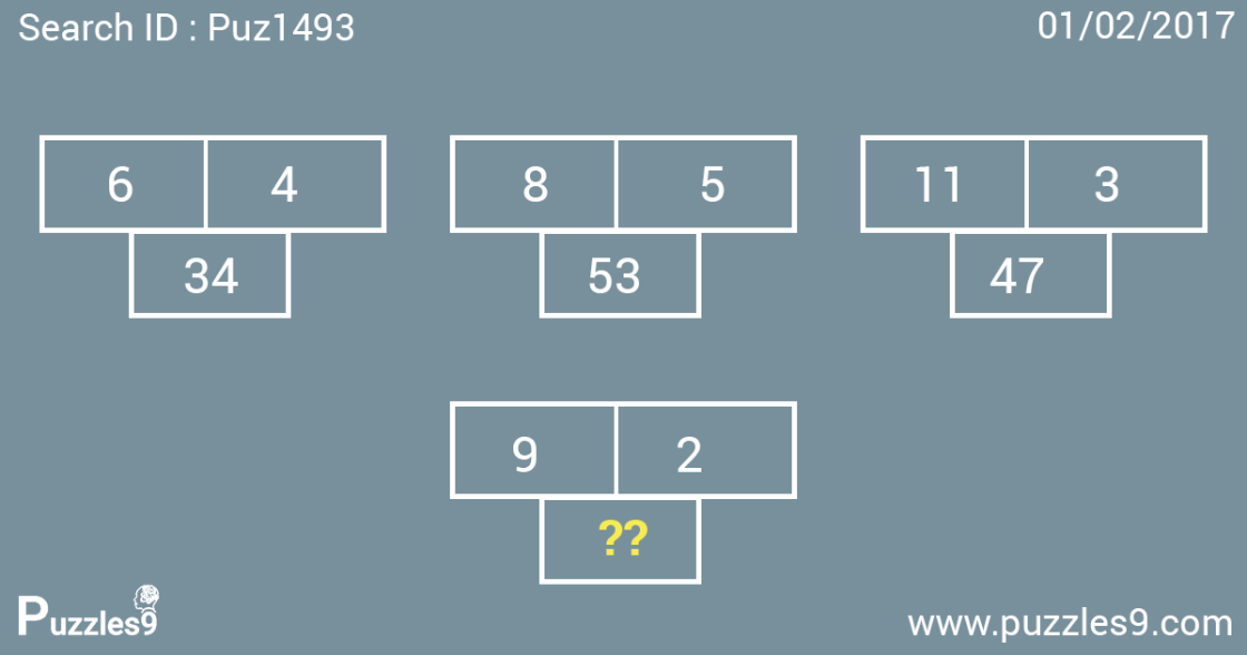 missing number puzzle with answer puz1493 - 01/02/2017