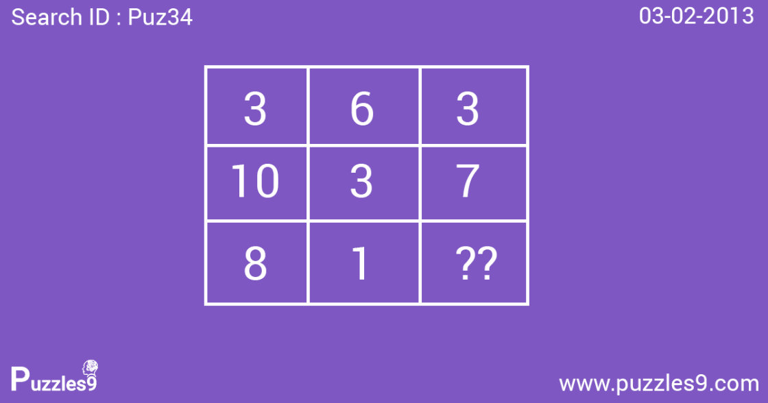 missing number puzzle with answer: puz34- 03 feb 2013