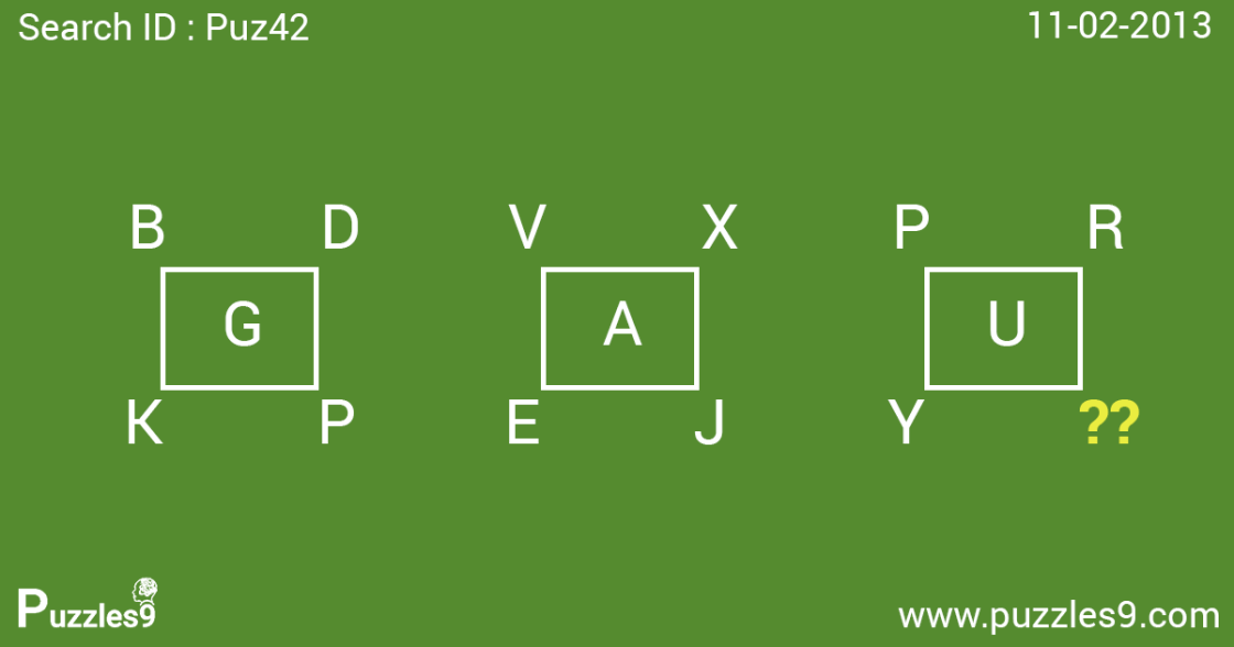 find the missing letter in logical maths puzzle Puz42- 11/02/2013