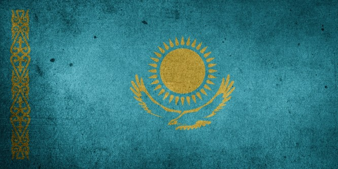 The flag of Kazakhstan.
