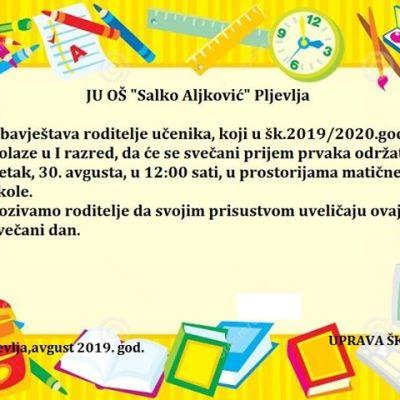 """Svečani prijem prvaka u OŠ """"Salko Aljković"""" 30. avgusta"""