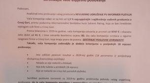 """SERTIFIKAT POSLOVNE IZVRSNOSTI za NVO """"PV INFORMER"""" – Pljevlja"""