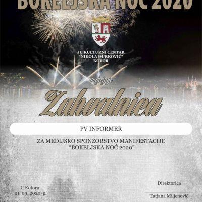 """ZAHVALNICA za medijsko sponzorstvo manifestacije """"Bokeljska noć 2020"""""""