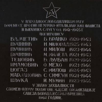 SPOMEN-PLOČA PALIM BORCIMA U BRVENICI