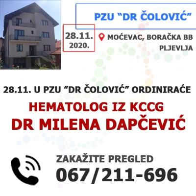 "U PZU ""Dr Čolović"" ordiniraće dr Milena Dapčević (KCCG)"