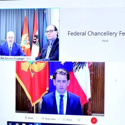 Premijer Krivokapić razgovarao s austrijskim kancelarom Sebastijanom Kurcom