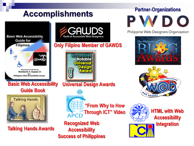 Photo-collage of PWAG's List of Accomplishments including partner-organizations