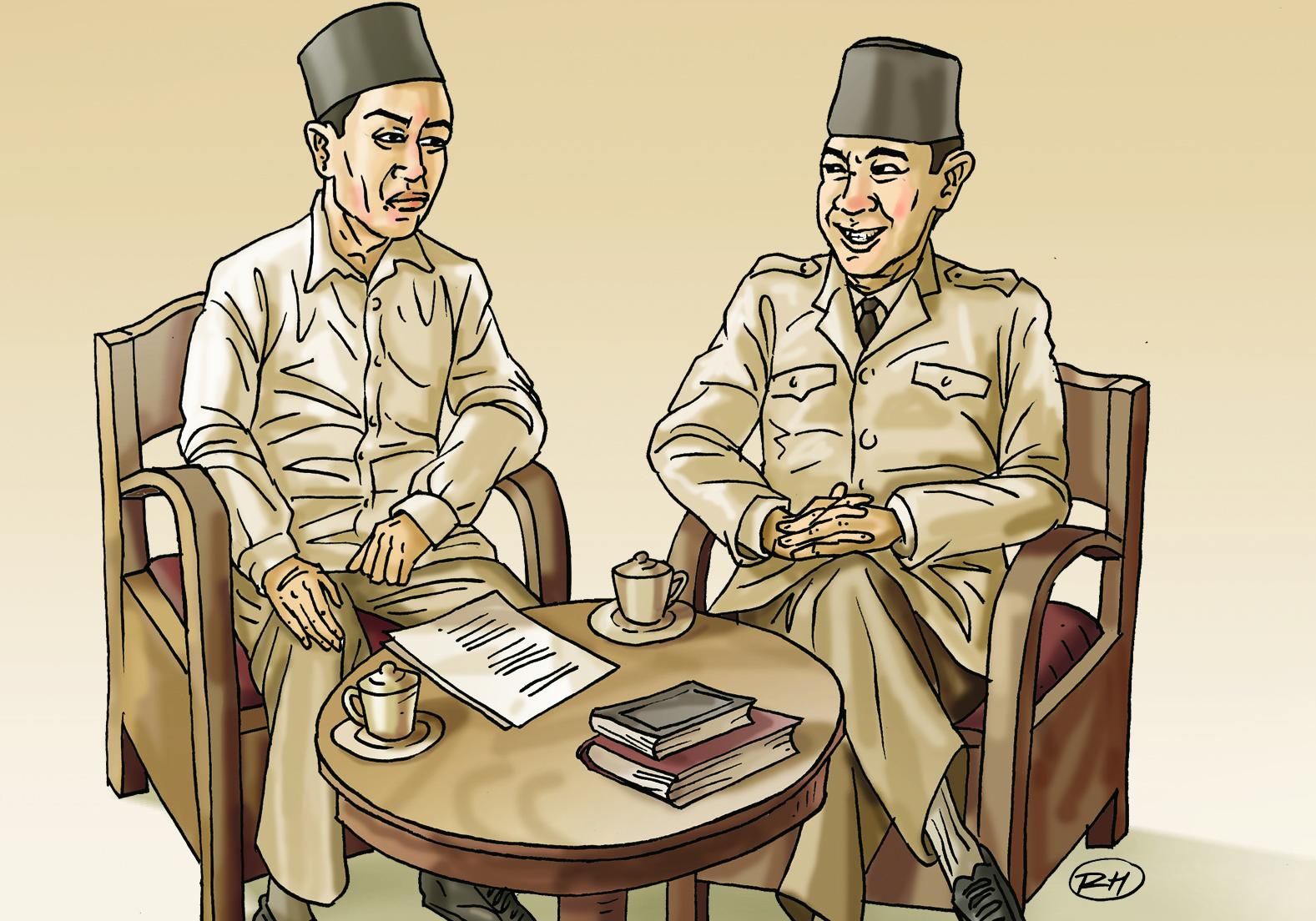 Kedekatan Bung Karno dengan KH Mas Mansur (ilustrasi: rehad humala)